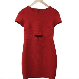 Express red ribbed mini with cutout